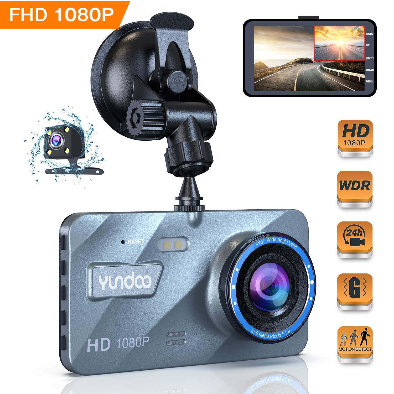 【2019 New Version】Rear Car Camera 1080P Full HD 170° Wide Angle Dashcam