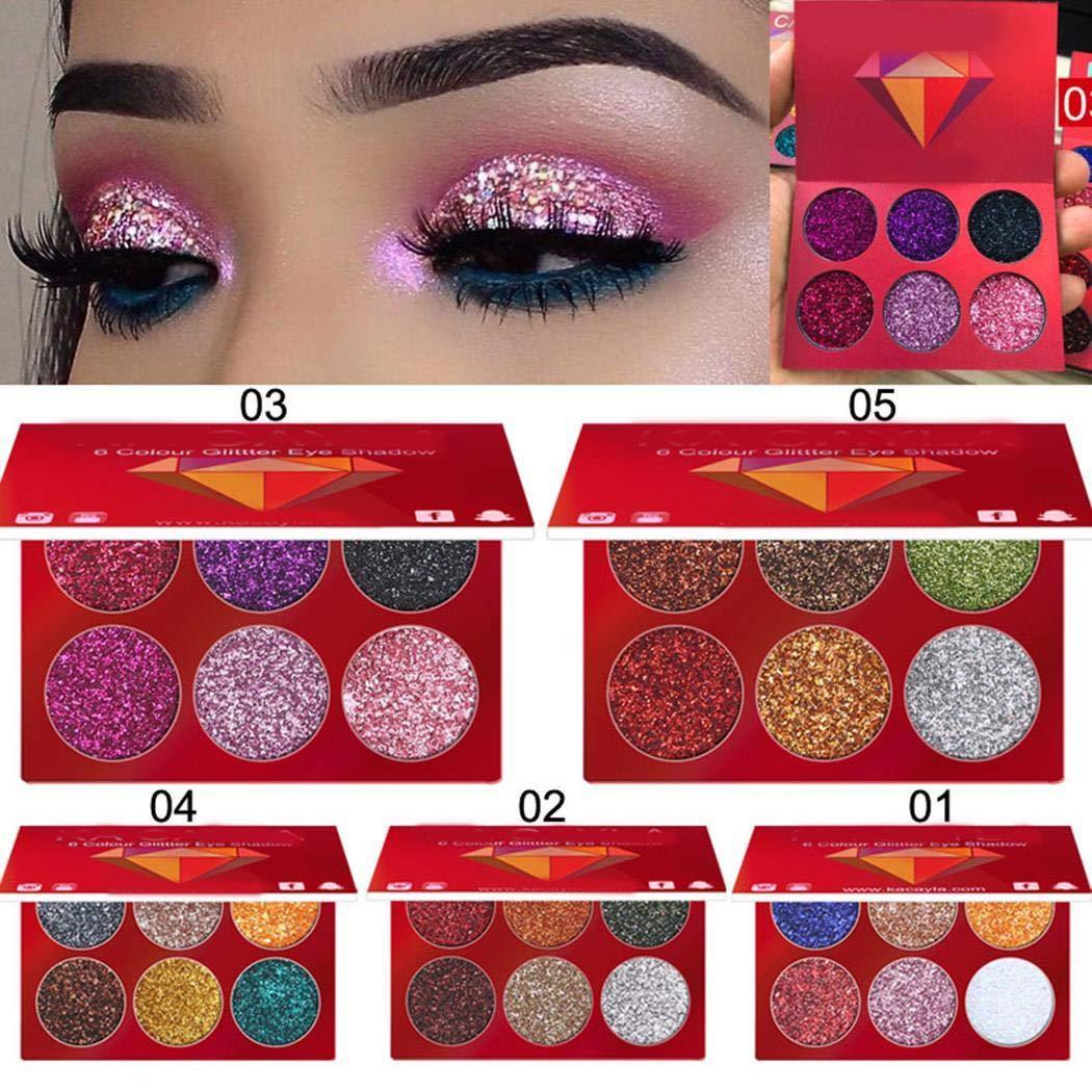 6 Colours Shining Eyeshadow Pallete Eye Makeup Glitter Shiny Eye Shadow