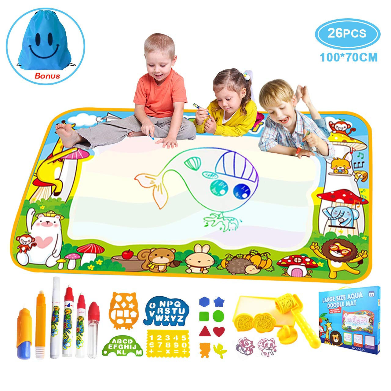 Vykor Aqua Mat Large Water Drawing Mat 70x100cm Water Doodle Mat