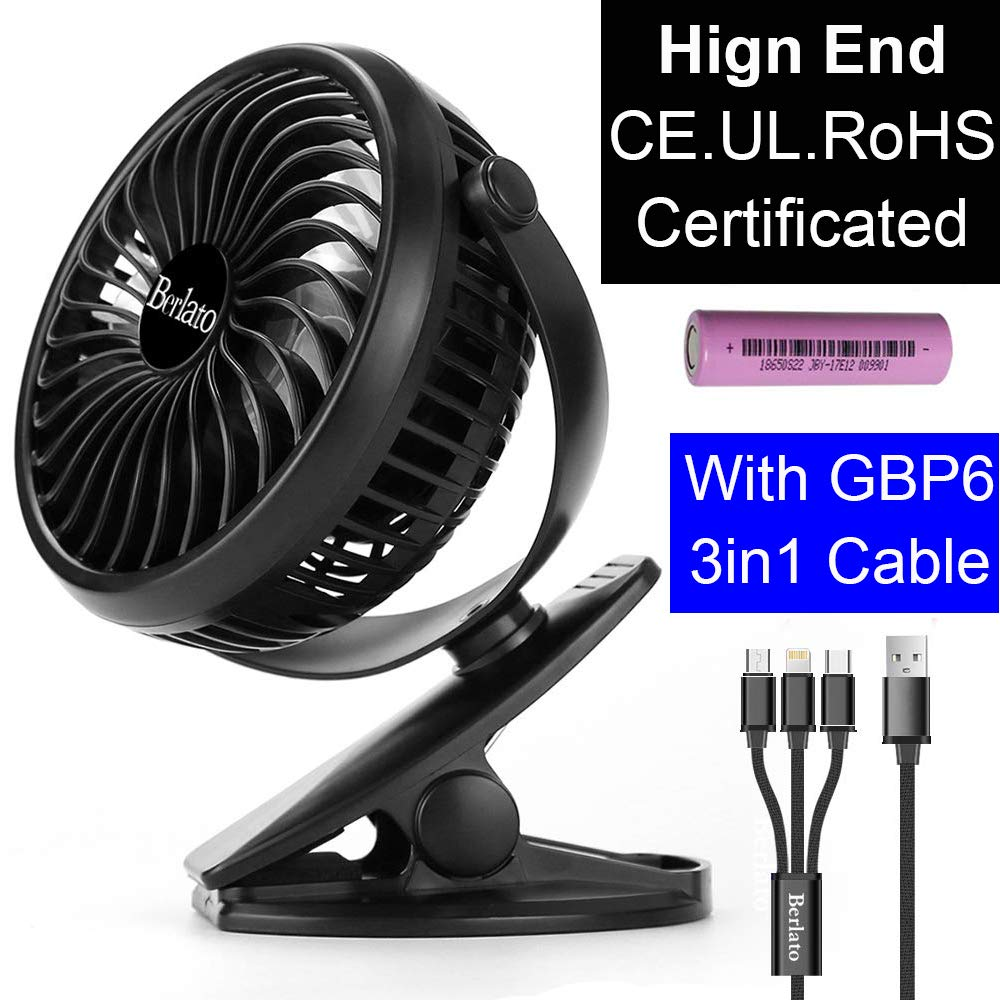 Berlato USB Desk Fan Clip on Pram Fan Small Portable Fan