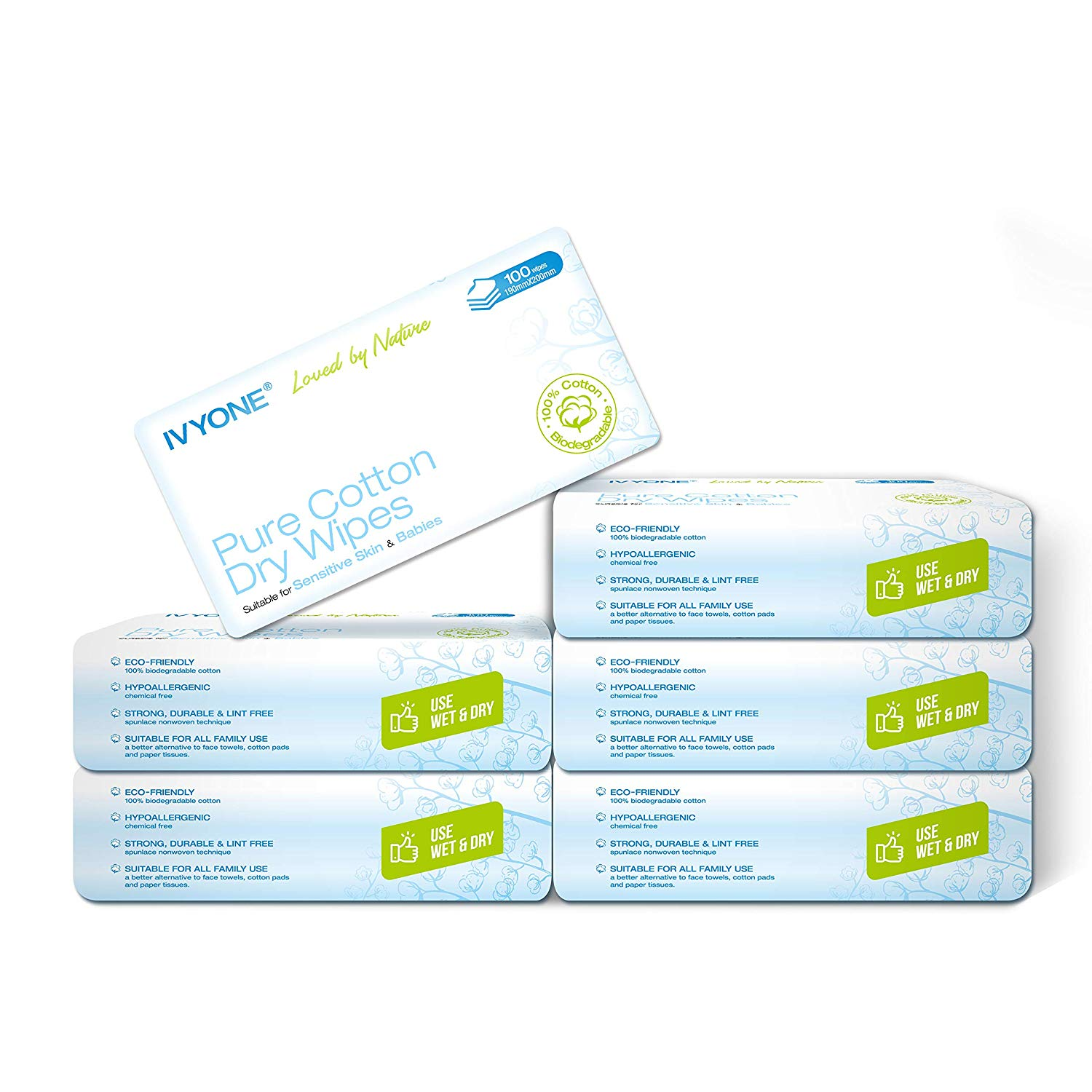 Ivyone Pure Cotton Dry Wipes, Biodegradable and Sensitive Protect Baby Wipes