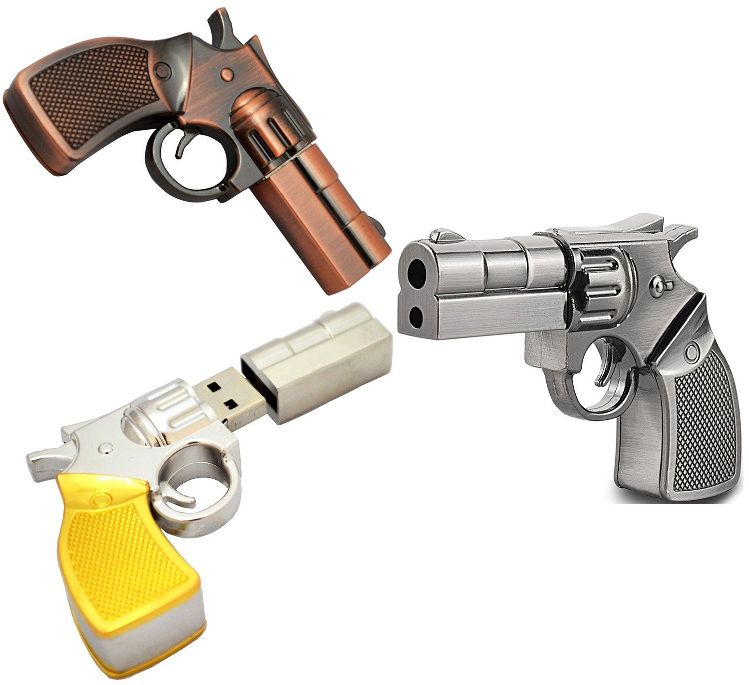 Shooo 3 Pack 16GB Metal Revolver Pistol Gun USB Flash Drive Memory Stick