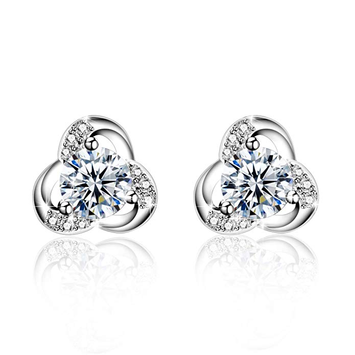 Earrings, Amilril 925 Sterling Silver High Polished Small Stud Earrings 5A Cubic Zirconia