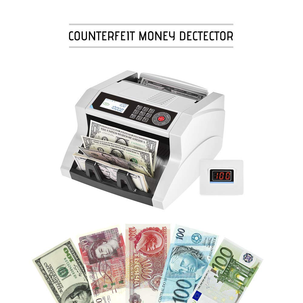 KKmoon Desktop Automatic/Manual Cash Banknote Bill Money Multi-Currency Counter Counting Machine