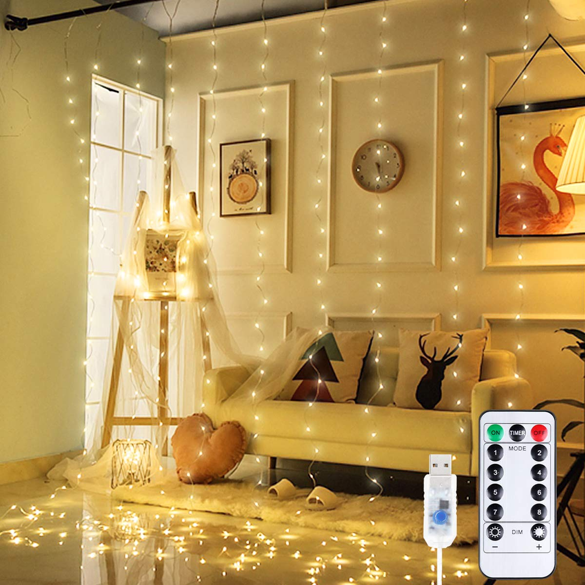 Anpro LED Curtain Lights, 300 LED Warm White Window Fairy String Lights