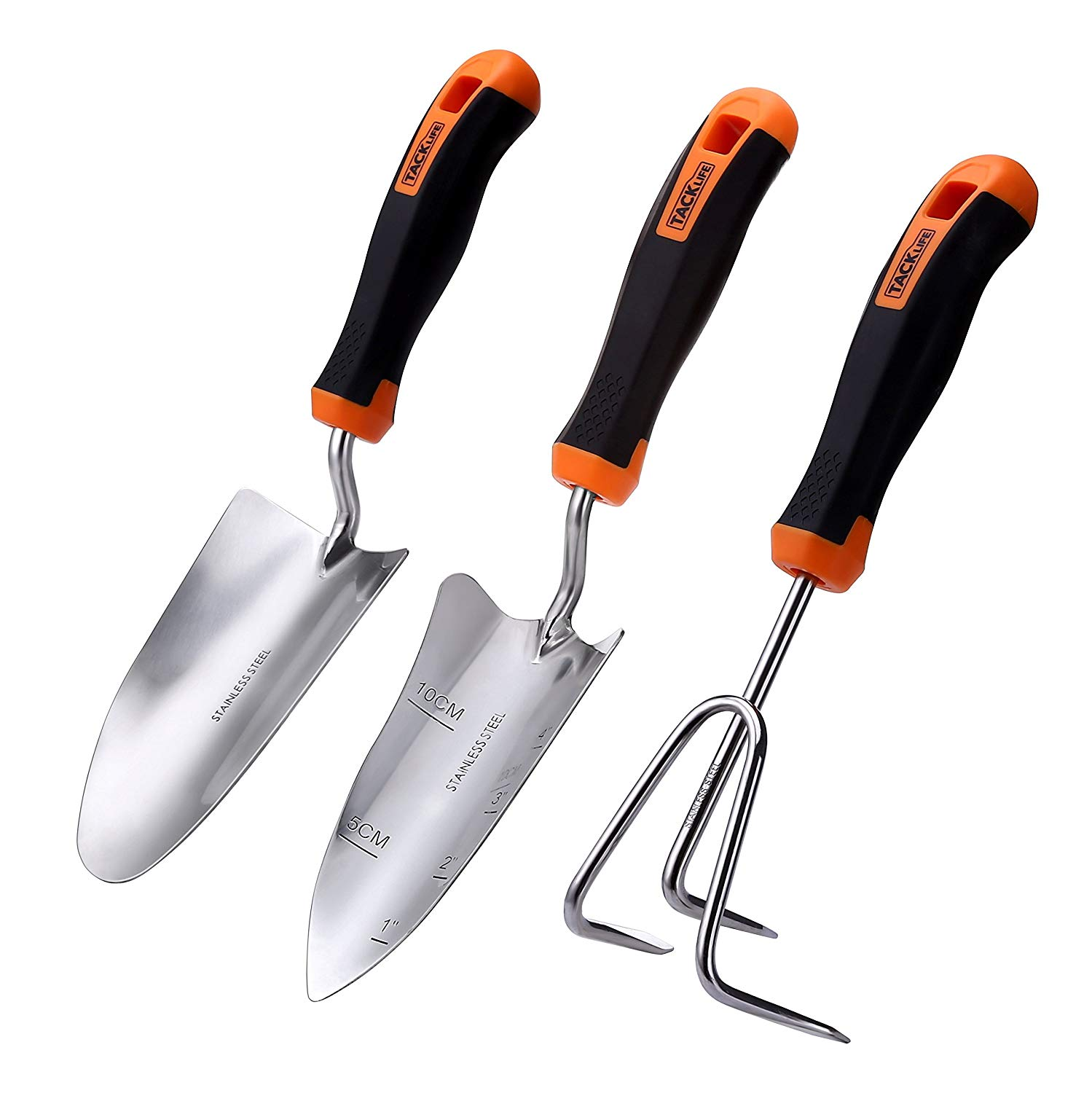 TACKLIFE 3 Piece Garden Tool Set, Stainless Steel Hand Tool Gift Kit Including Trowel + Transplant Trowel + Cultivator for Keen Gardeners