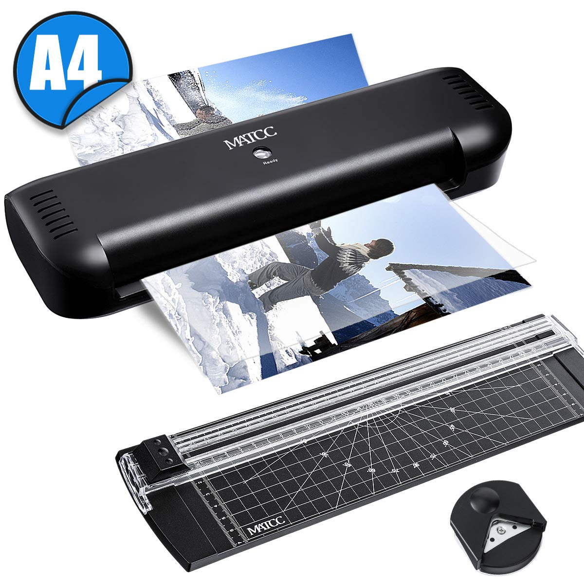 MATCC A4 Laminator Thermal Laminator Machines Trimmer/Corner Rounder Machine 2 Rollers Quick Warm-up Laminator for Home, School, Office Use,Black