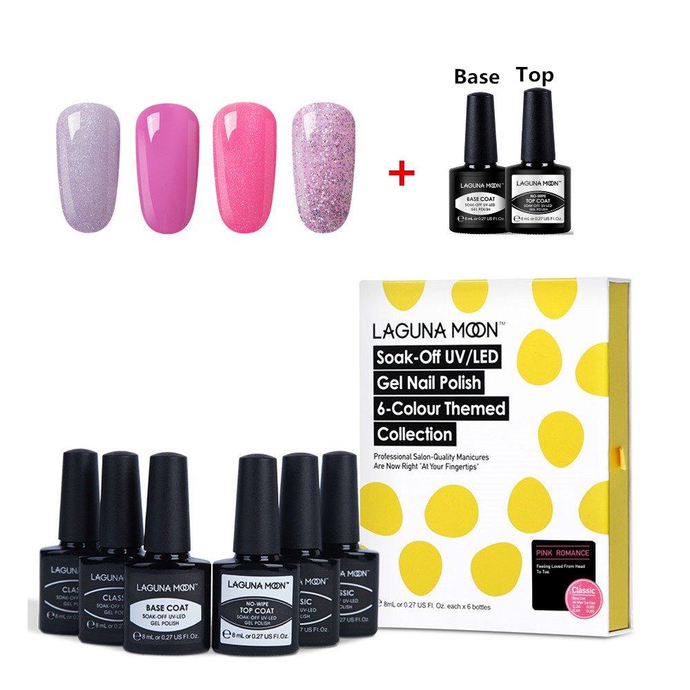 Lagunamoon Gel Nail Polish Soak off Gel Nail Colours UV LED Gel Polish Nail Art Kit 6pcs