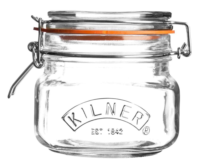 Kilner Square Glass Clip Top Jar, 0.5 Litre
