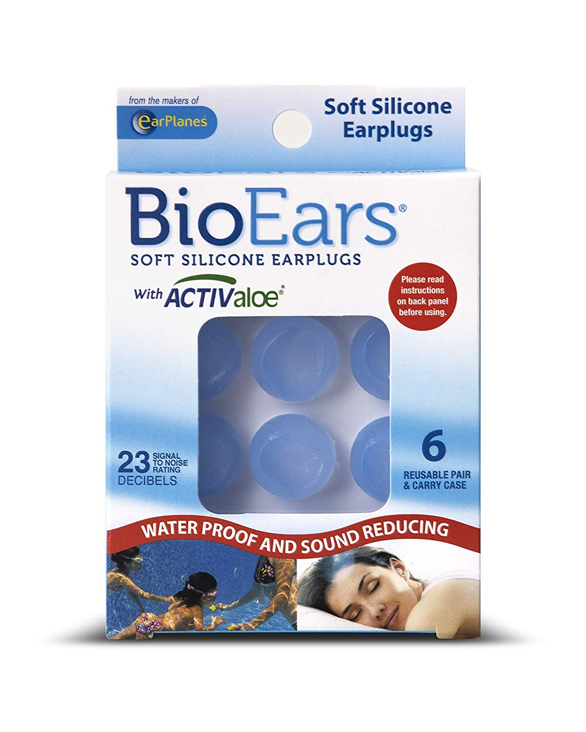 BioEars Soft Silicone Earplugs with ACTIVALOE 6 pair