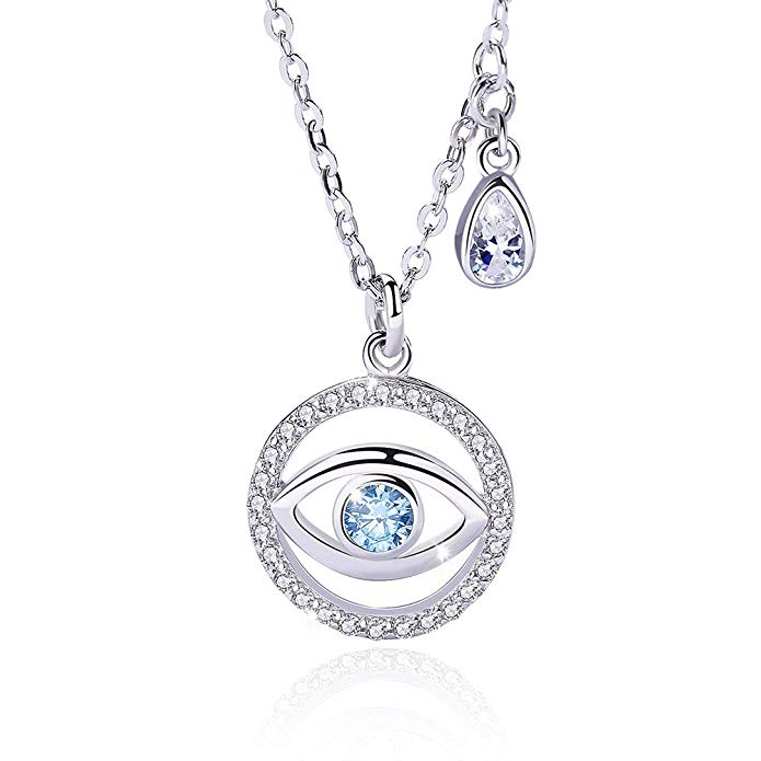 Evil Eye Necklace 925 Sterling Silver – Blue Crystal Pendant Necklace for Women Girls – 5A Cubic Zirconia Jewellery