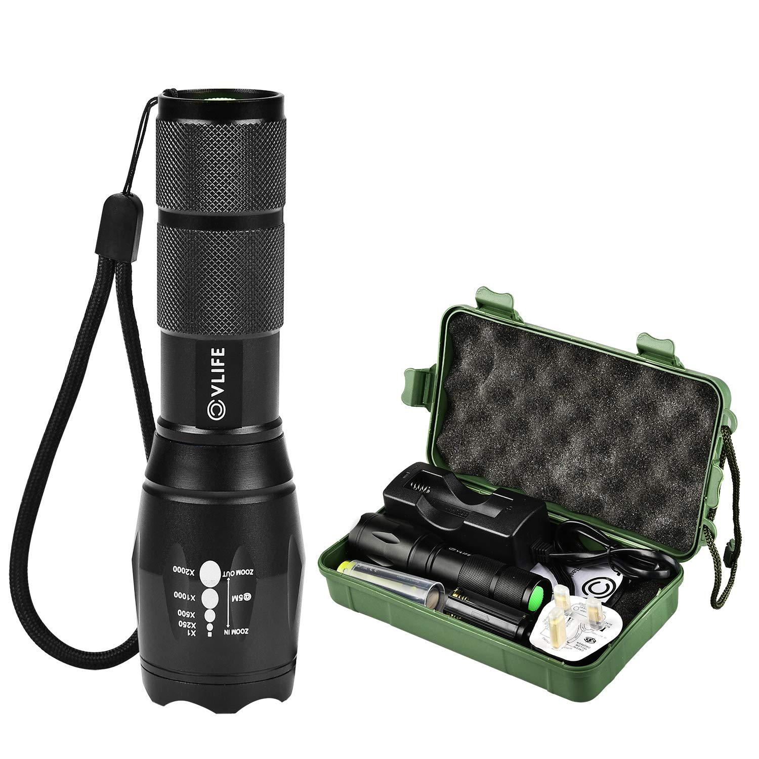 CVLIFE Tactical Torch CREE T6 LED Torch Lamp Portable Rechargeable Zoomable Waterproof Flashlight with One 18650 Battery & A Charger