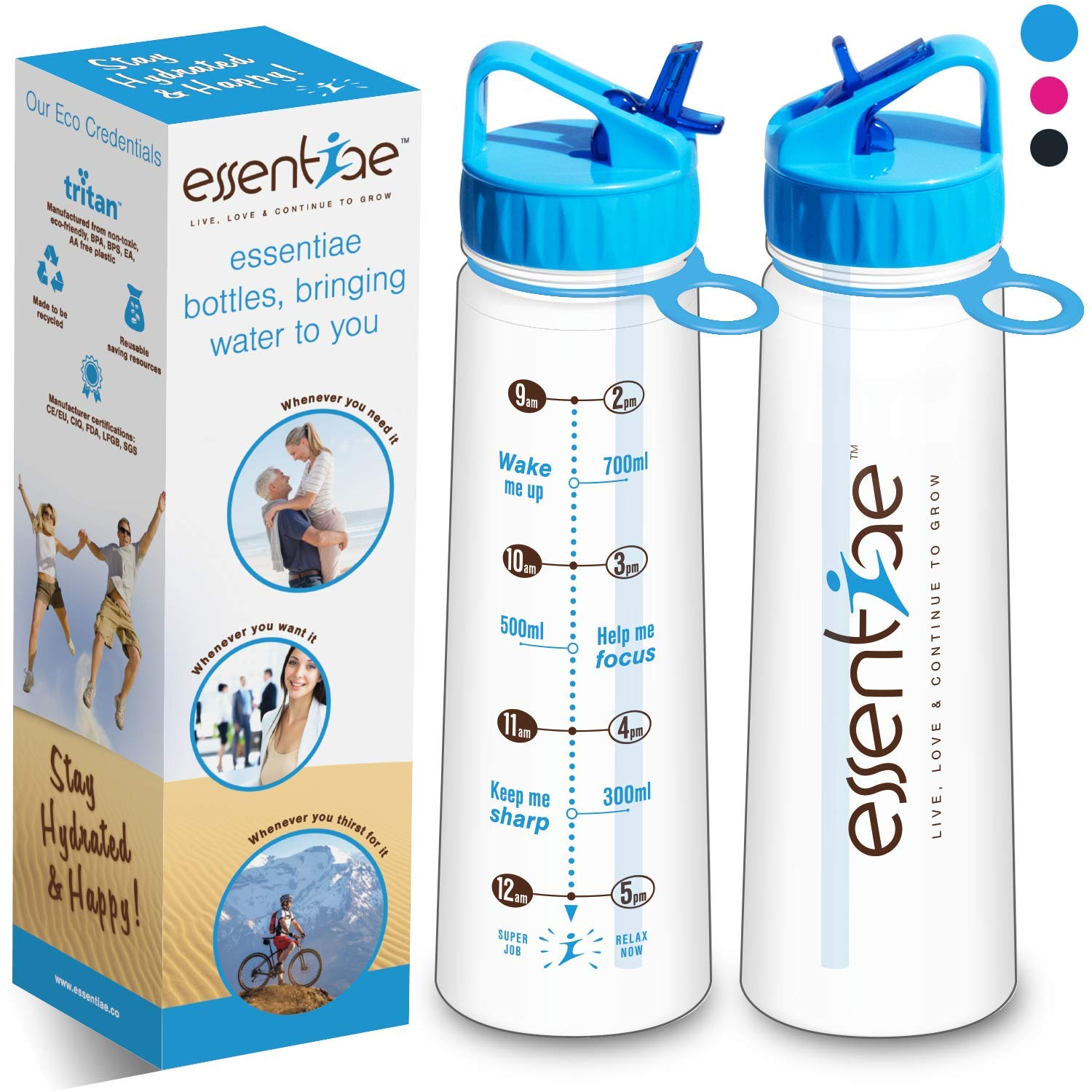 essentiae Water Bottle with Straw and Times Help Drink Water Easily – Great for Travel, Gym, Sports