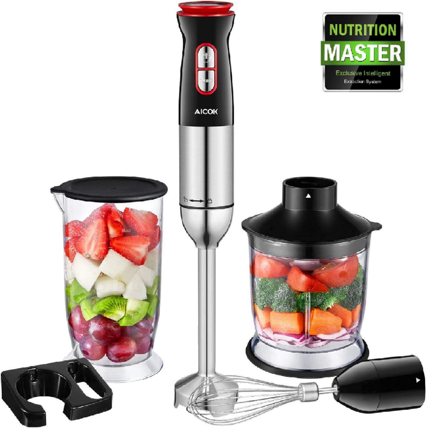 Hand Blender, Aicok Immersion Blender 4 in 1 with 700ml Beaker/500ml Chopper/Whisk
