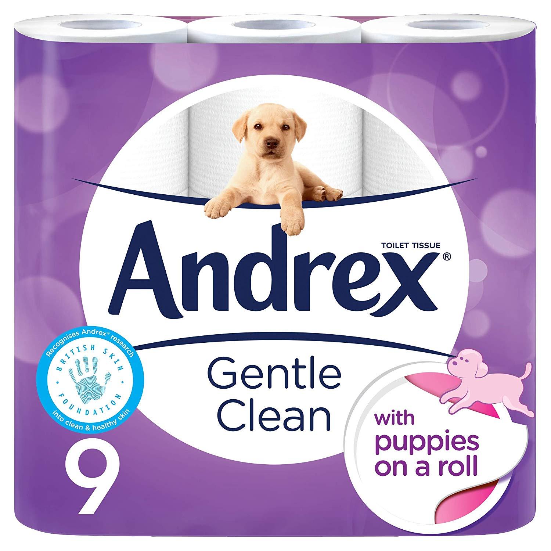 Andrex Gentle Clean Toilet Tissue – 9 Rolls (Amazon Pantry)