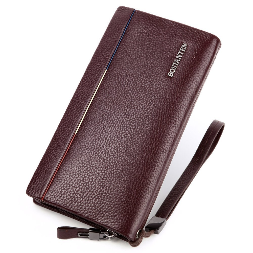 BOSTANTEN Men's Leather Wallet Clutch Bag Cash Card Holder for Men Fits iPhone 6 7