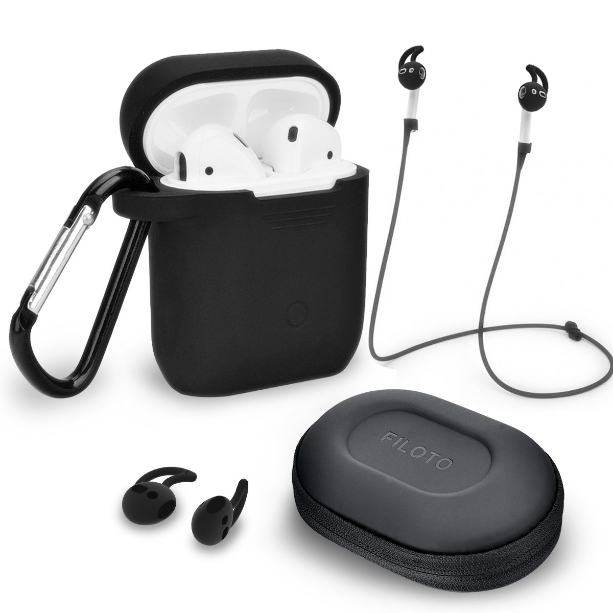 Airpods Accessories Set, Filoto Airpods Waterproof Silicone Case Cover