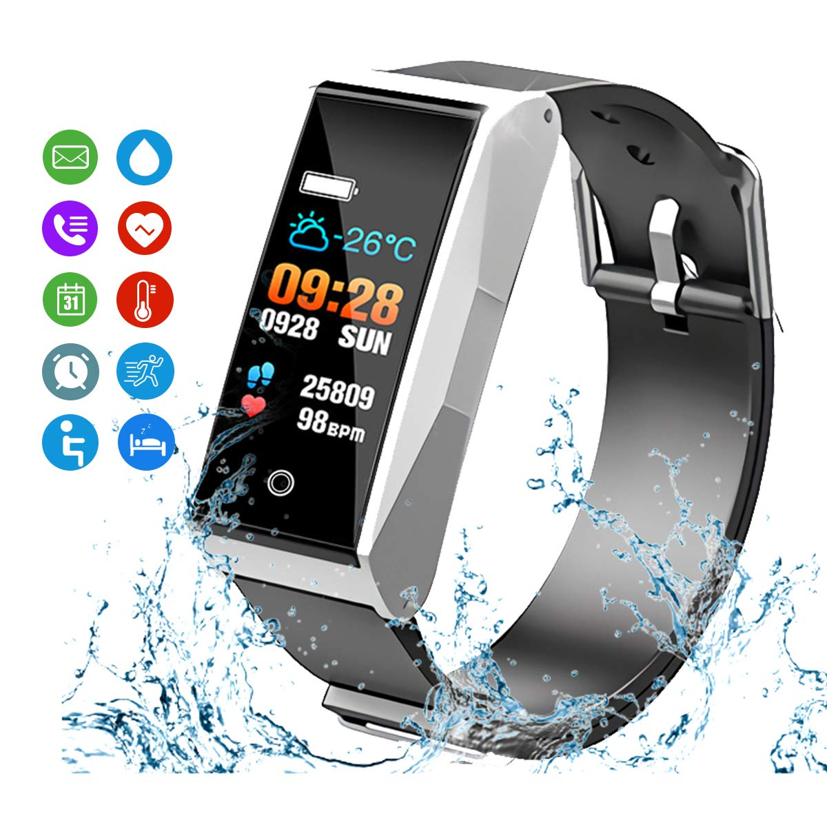 MATEYOU Fitness Tracker, Smart Watchs Color Screen Activity Tracker Fitness Watch