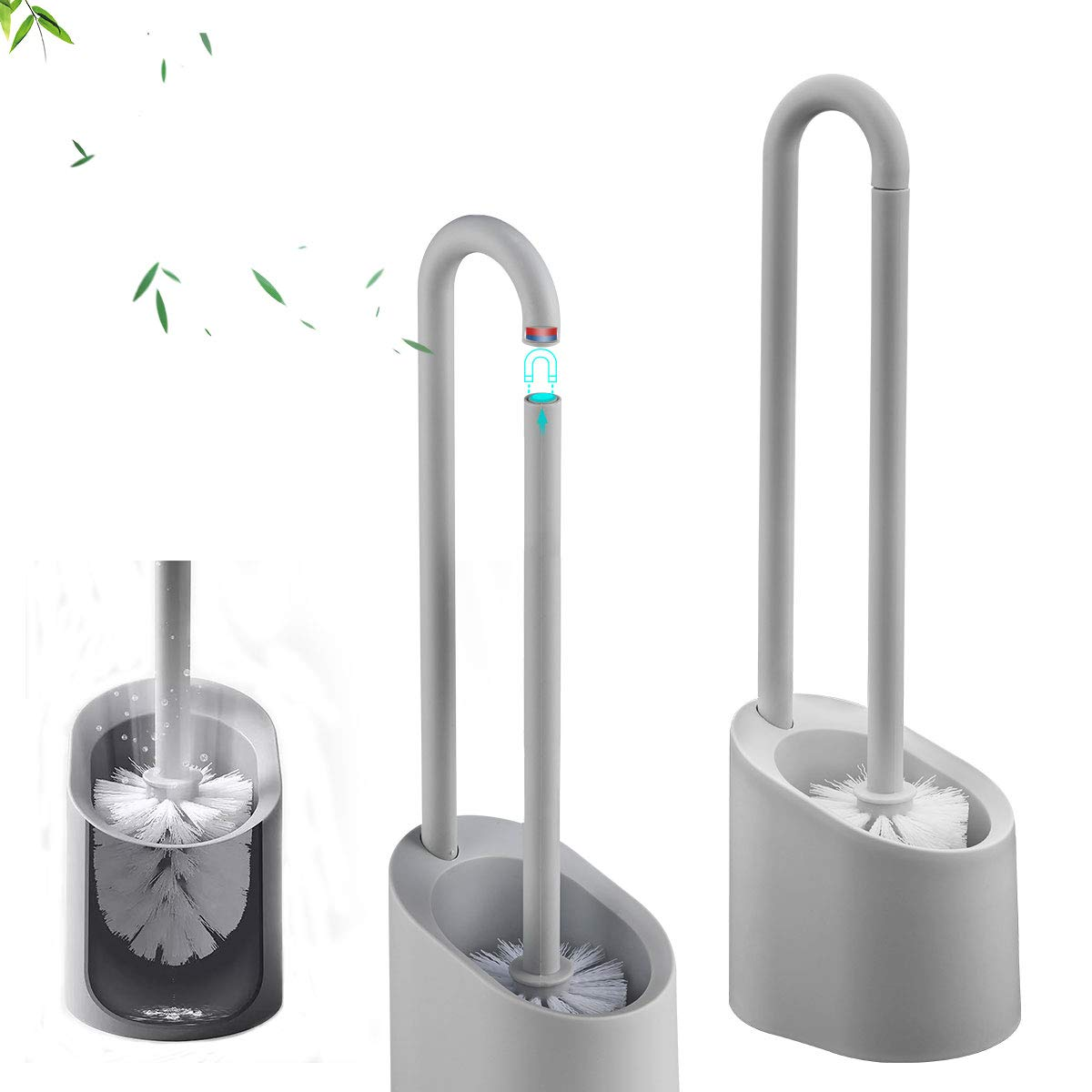 GAPPO Simple Bathroom Magnetic Toilet Bowl Brush Quick Drying Holder with Stand Base Set