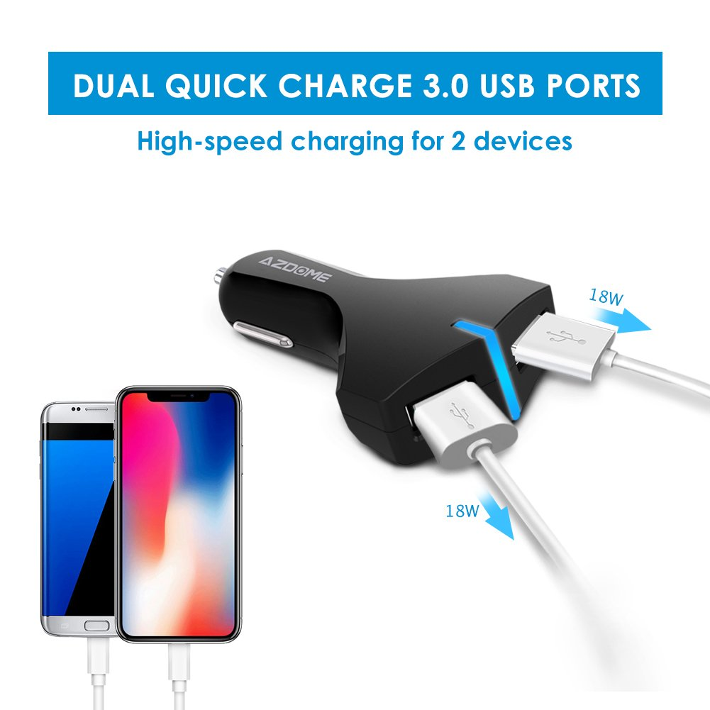 AZDOME Quick Charge 3.0 Car Charger Dual Ports