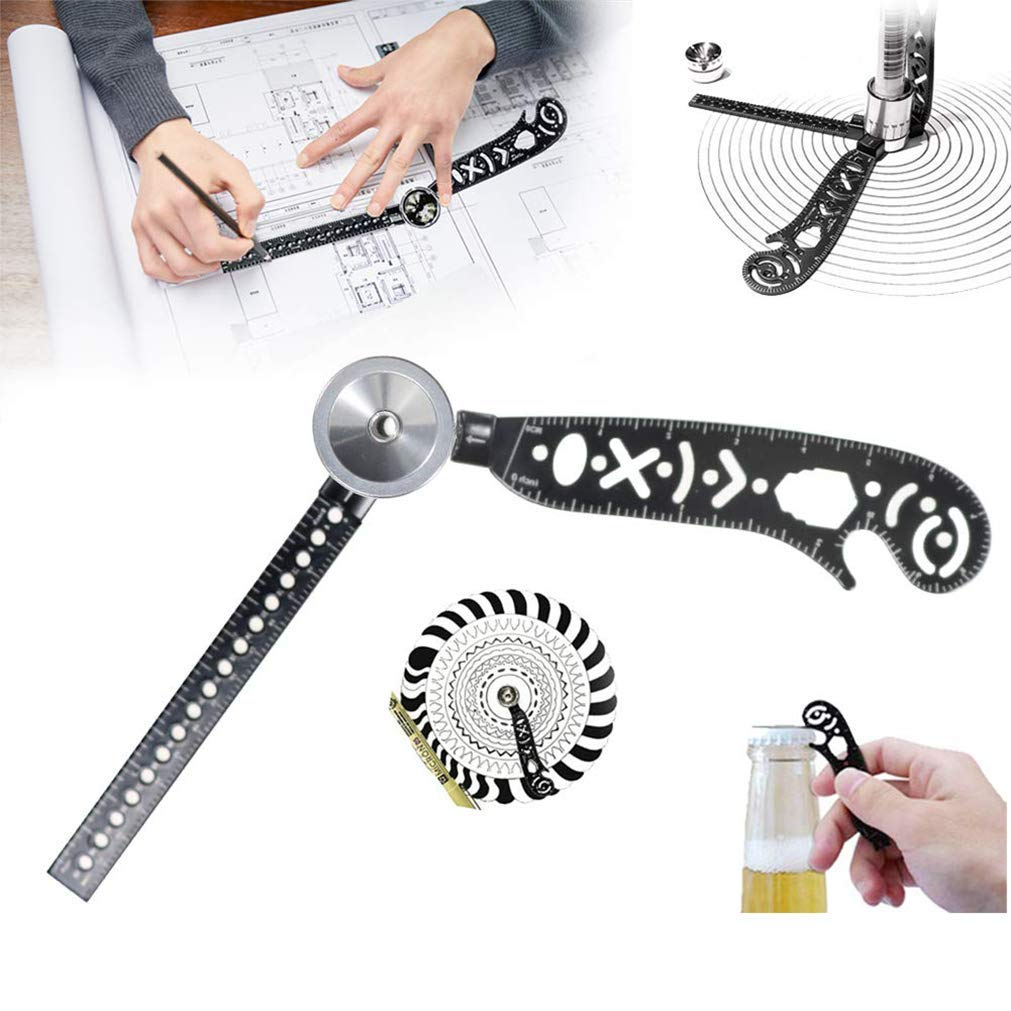 Petansy Versatile Magcon Tool Metallic Ruler Mini Compass Protractor Combo Patterns Notepad Designers
