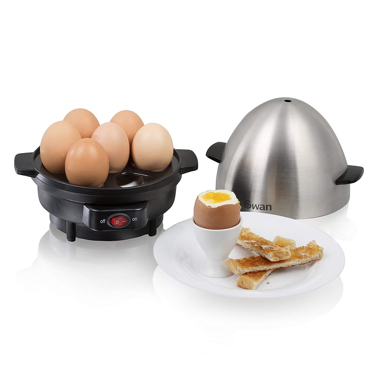 Swan 7 Egg Boiler and Poacher, 350w, Black/Stainless Steel
