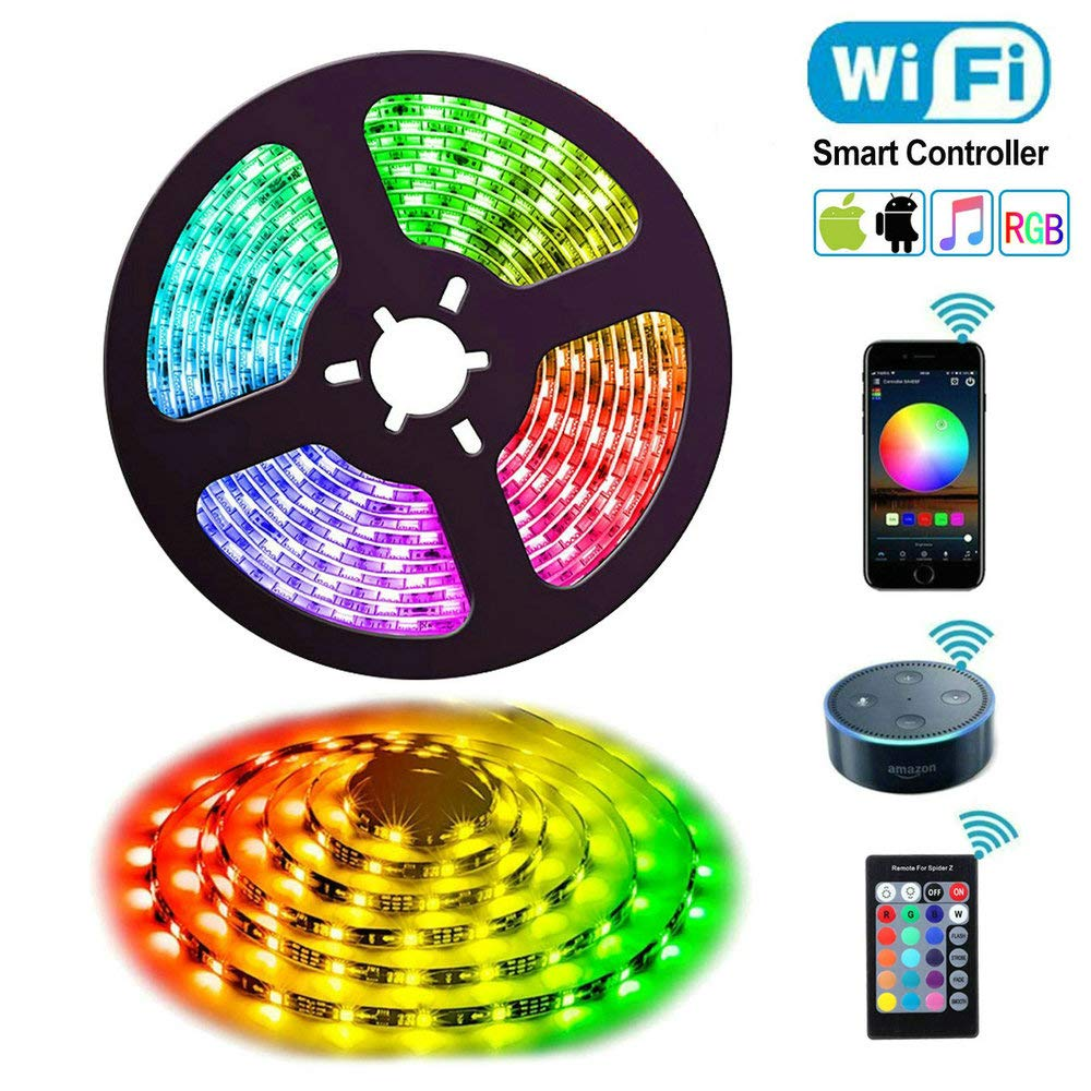Uzone Alexa Led Strips Lights, 5m WiFi Waterproof Smart Light Strip
