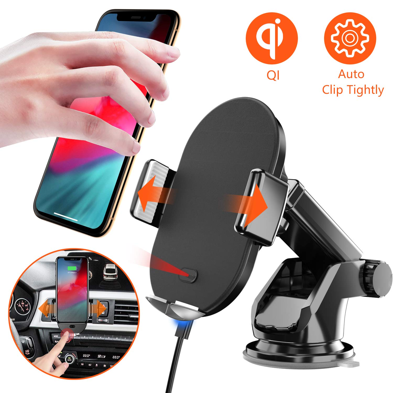 Seiaol Qi Wireless Car Phone Holder 10W for S10/S9/S8/S8 Plus/S7, 7.5W for iPhone XS/XR/X/8/8 +