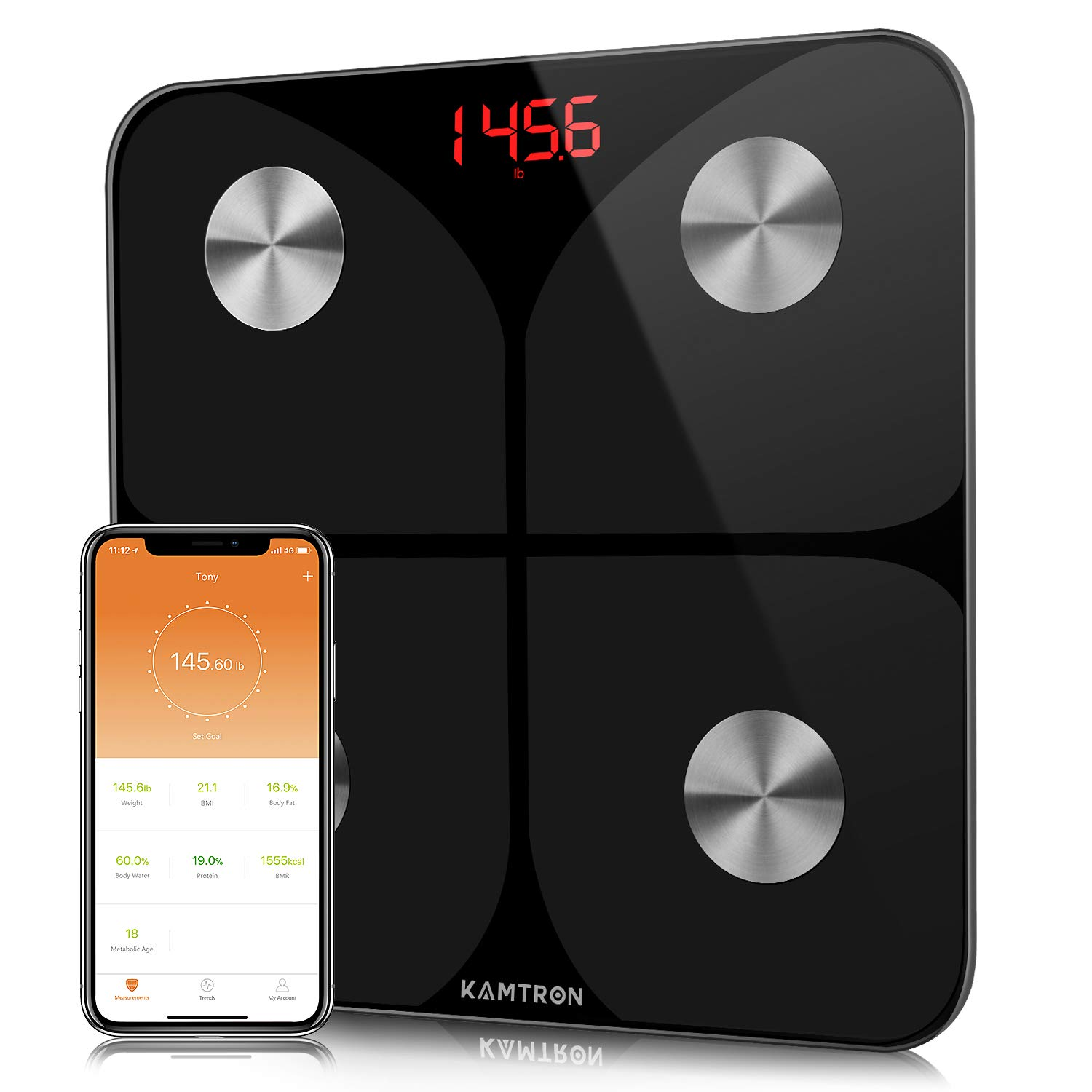 KAMTRON Smart Body Fat Scales – Bathroom Scales Body Composition Analyzer Monitor