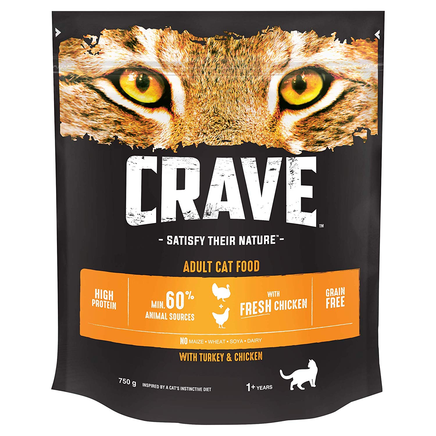 Crave Natural Dry Cat Food for Adult Cats, with Turkey and Chicken, 3 Bags (3 x 750 g)