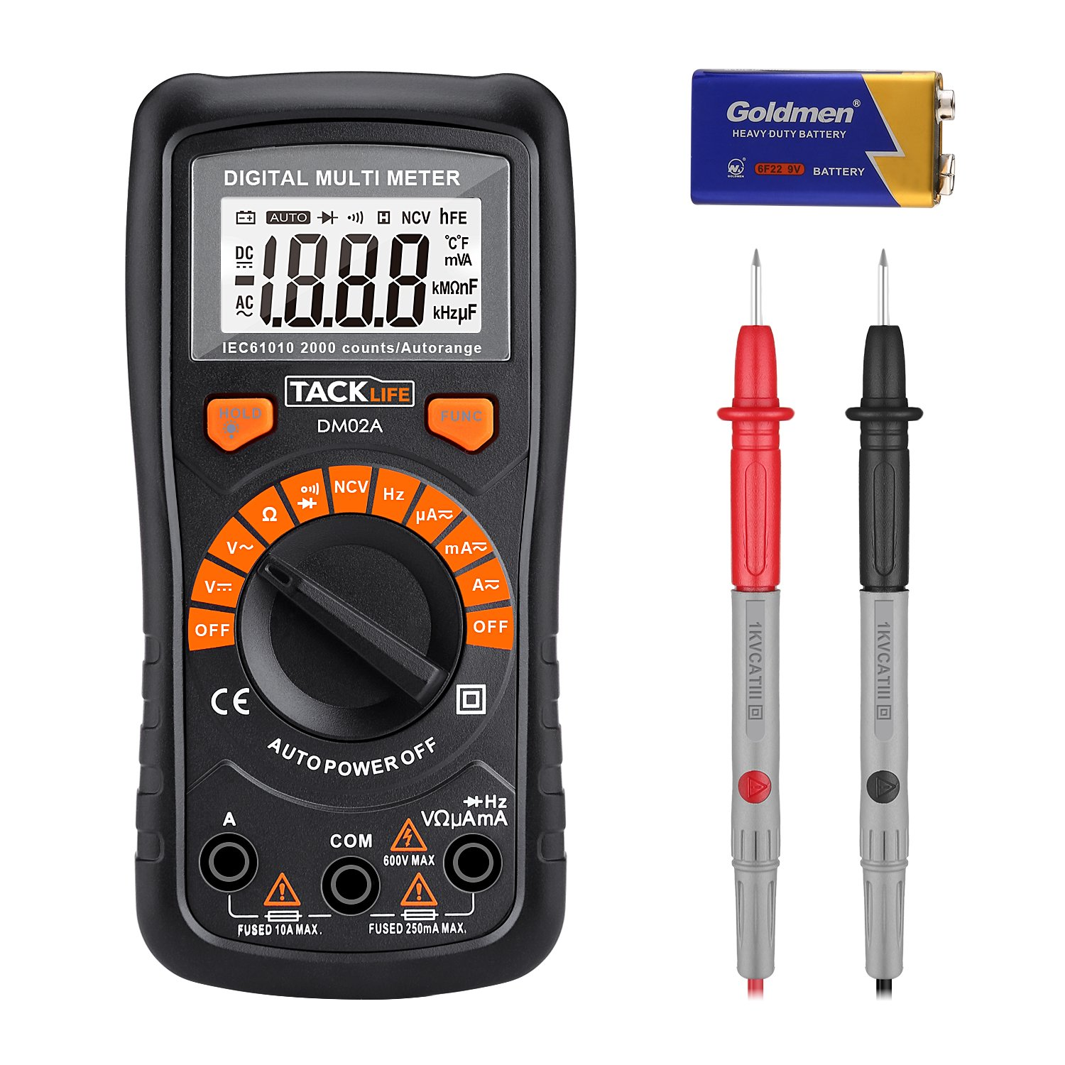 Multimeter, Tacklife DM02A Digital Multi Tester Auto-ranging Electrical Tester