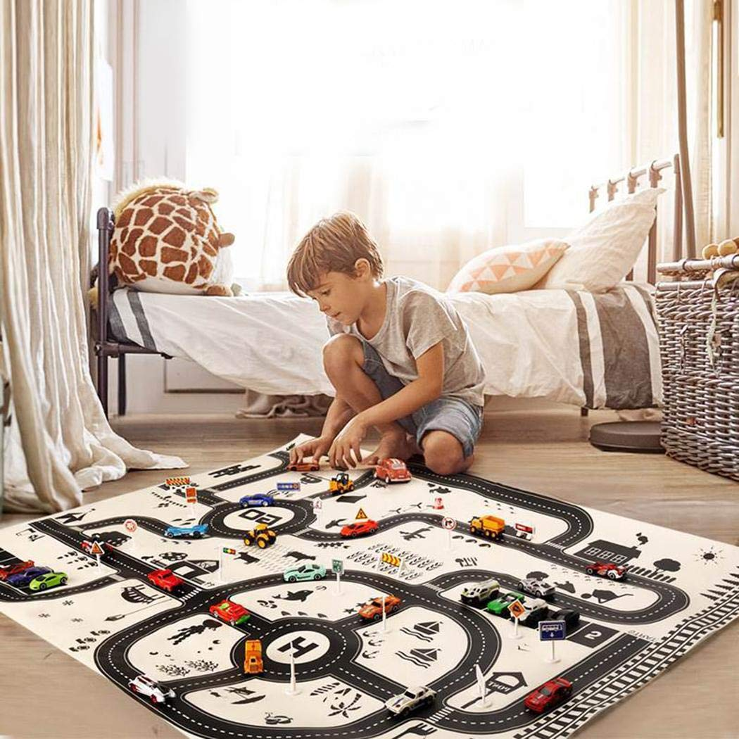 Qiopes Kids Play Mat City Road Buildings Parking Map Game Educational Toys Playmats & Floor Gyms 51.18 x 39.37 inch