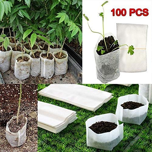Qiopes 100 Pcs/Pack Degradable Non-woven Nursery Pots Seedling Growing Bag Plants Pouch Container Gardening