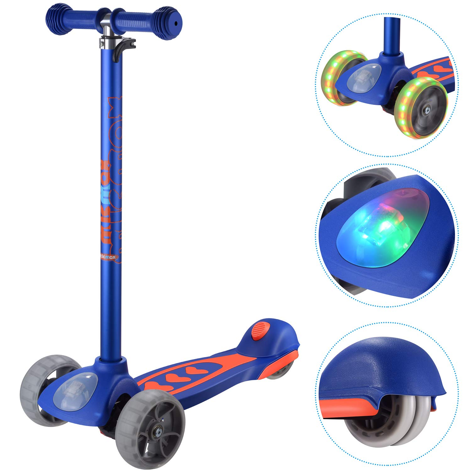 Banne Scooters for Boys Girls Height Adjustable Kids Scooter 3 Wheel with Headlight and Flashing Wheels