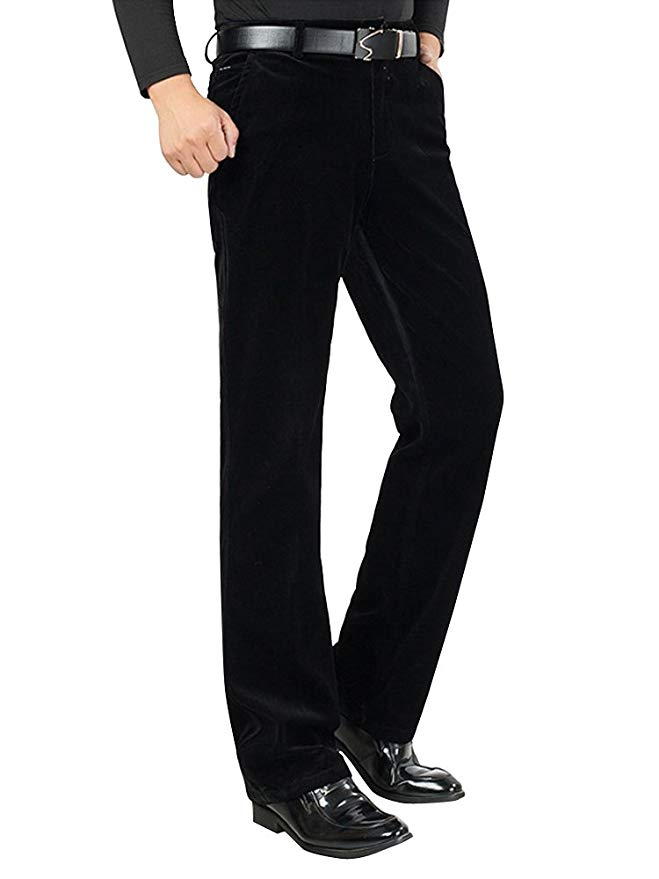 Phorecys Men's Straight Fit Work-to-Weekend Plain Front Corduroy Dress Trousers