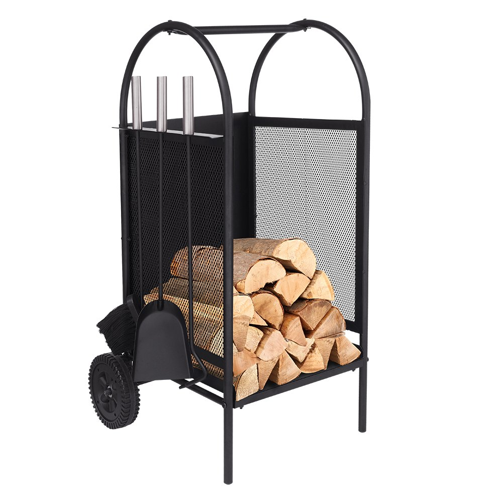 Firewood Cart with Wheels, Firewood Log Rack with 3 Tools Fireplace Log Carriers Holders