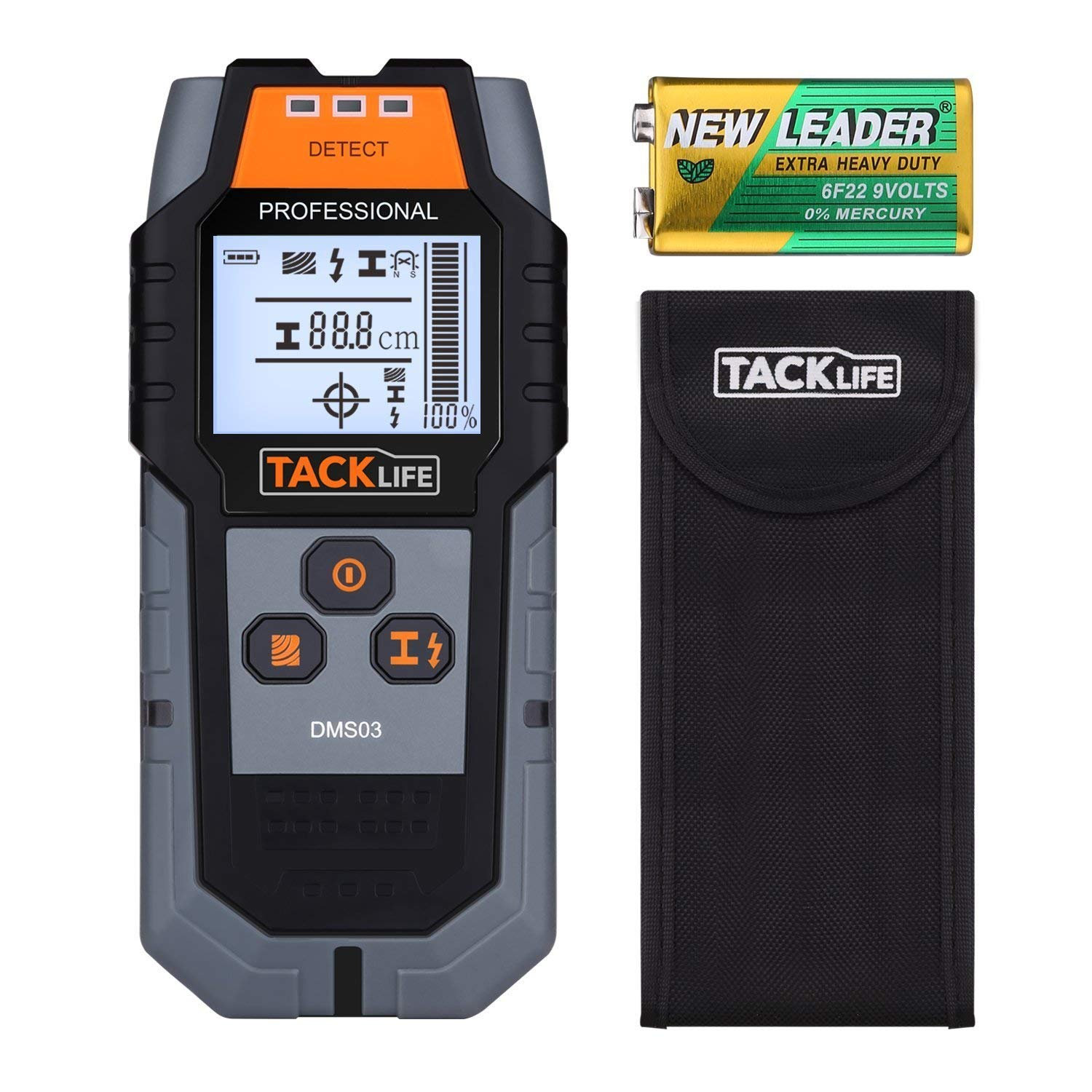 Tacklife DMS03 Metal Detector Wall Scanner Stud Finder with Large LCD Backlight with Protective Case