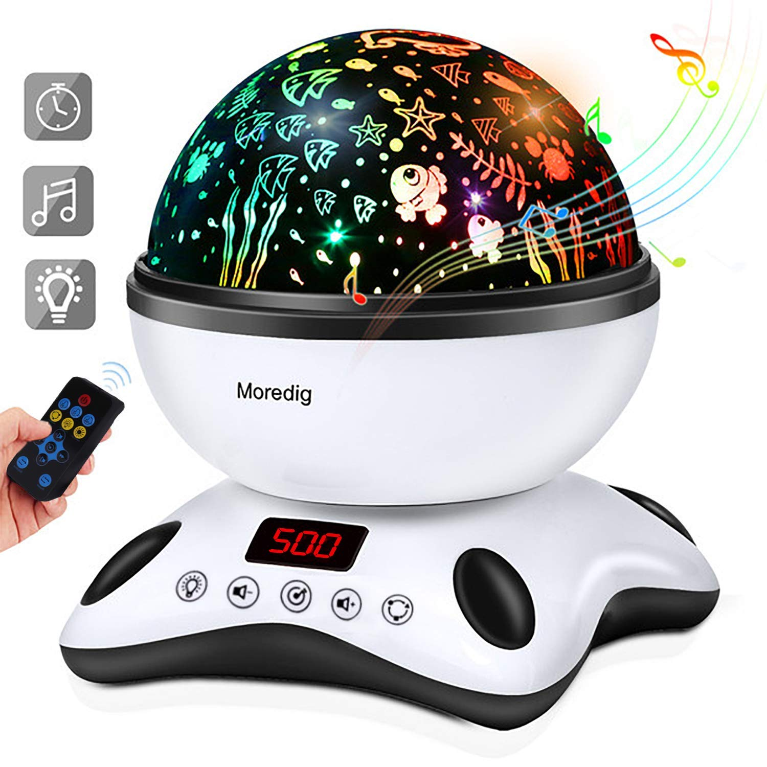 Moredig Baby Light Projector Remote Control and Timer Design Projection lamp