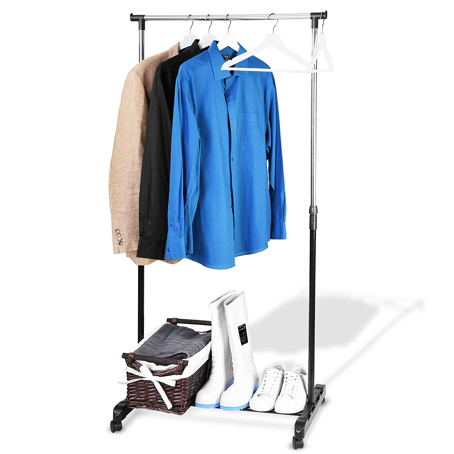 Garment Rack On Wheels Clothes Hanging Rail Storage Stand -FREE delivery