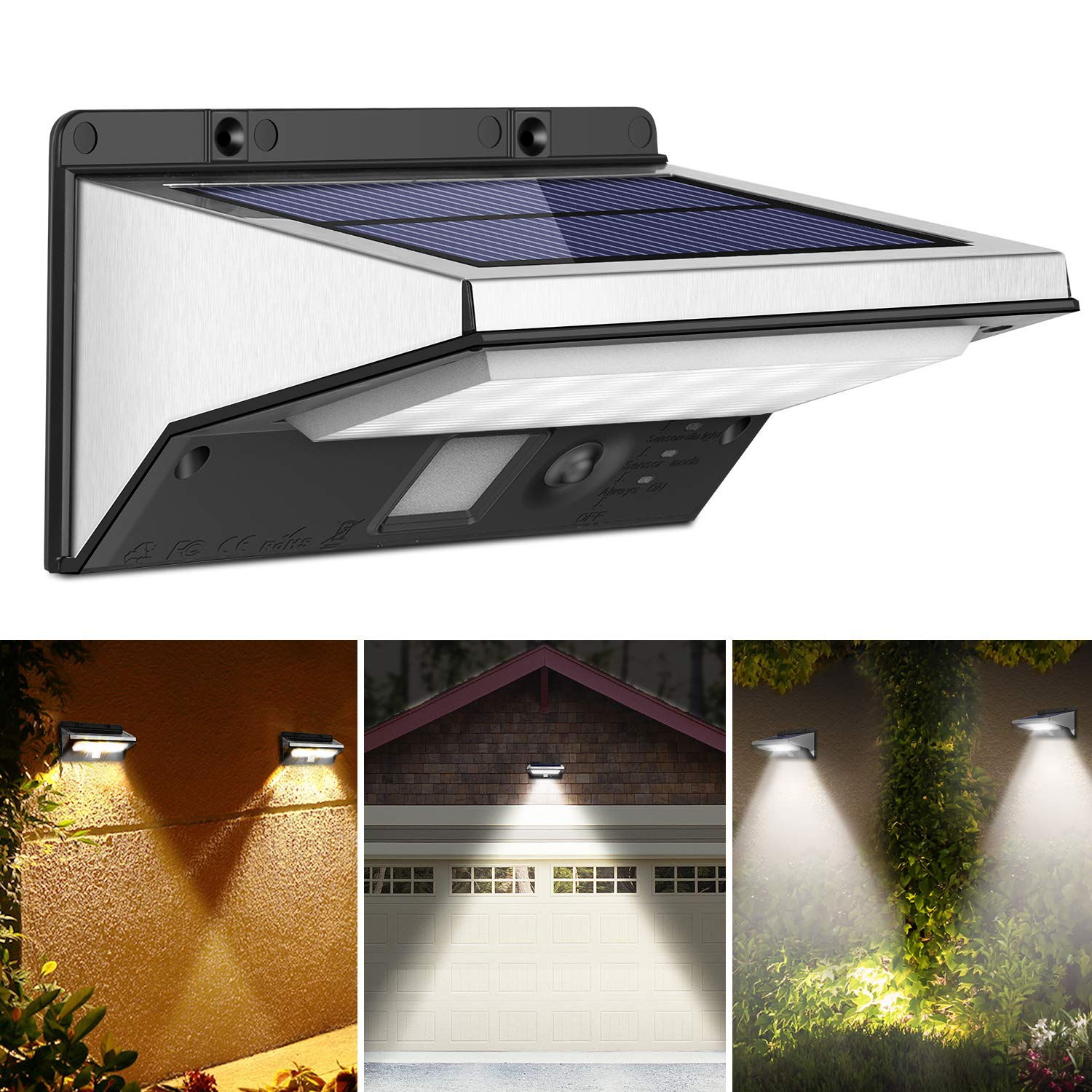 OUSFOT Solar Security Light Motion Sensor Wall Lights Outdoor 3 Modes 2200 mAh Solar Powered