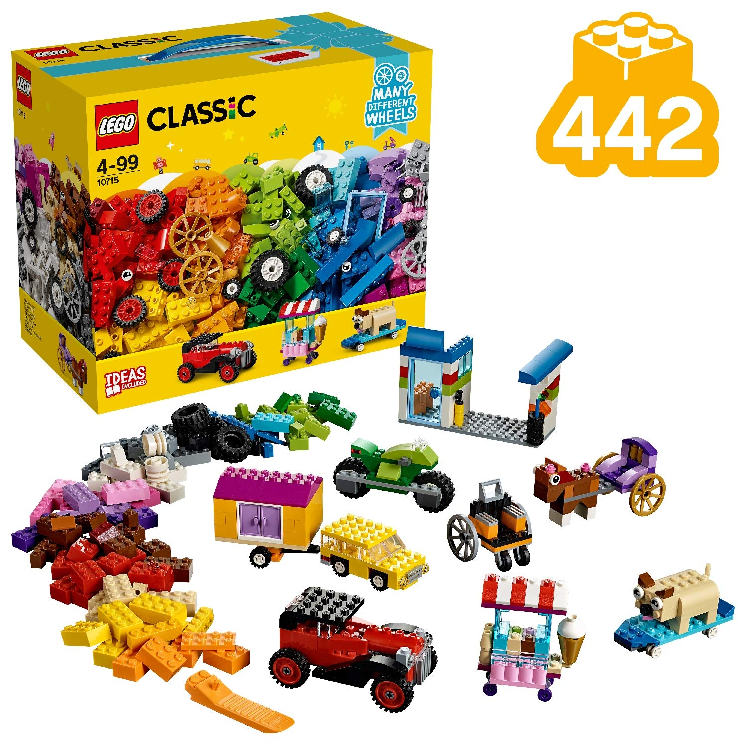 LEGO Classic Bricks on a Roll Construction Set, Colourful Vehicle Toy Bricks