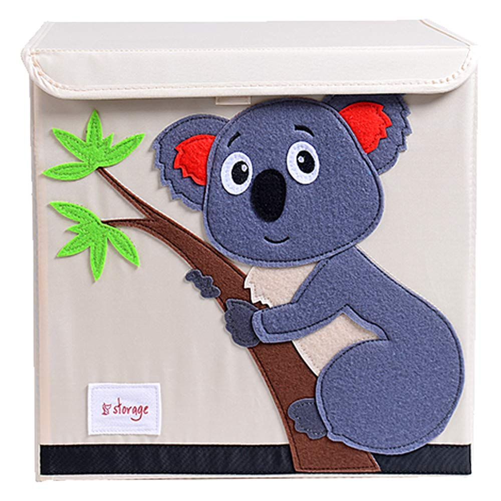TsingLe Kids Toy Storage Box with Lid Foldable Cartoon Canvas Cube Organiser Large Capacity