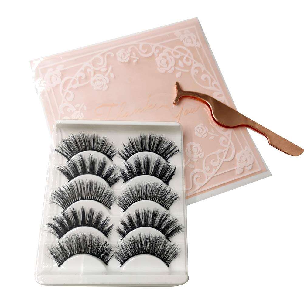 Fleurapance Faux 3D Mink Eyelashes 5 Pairs of 5 Different Styles Reusable