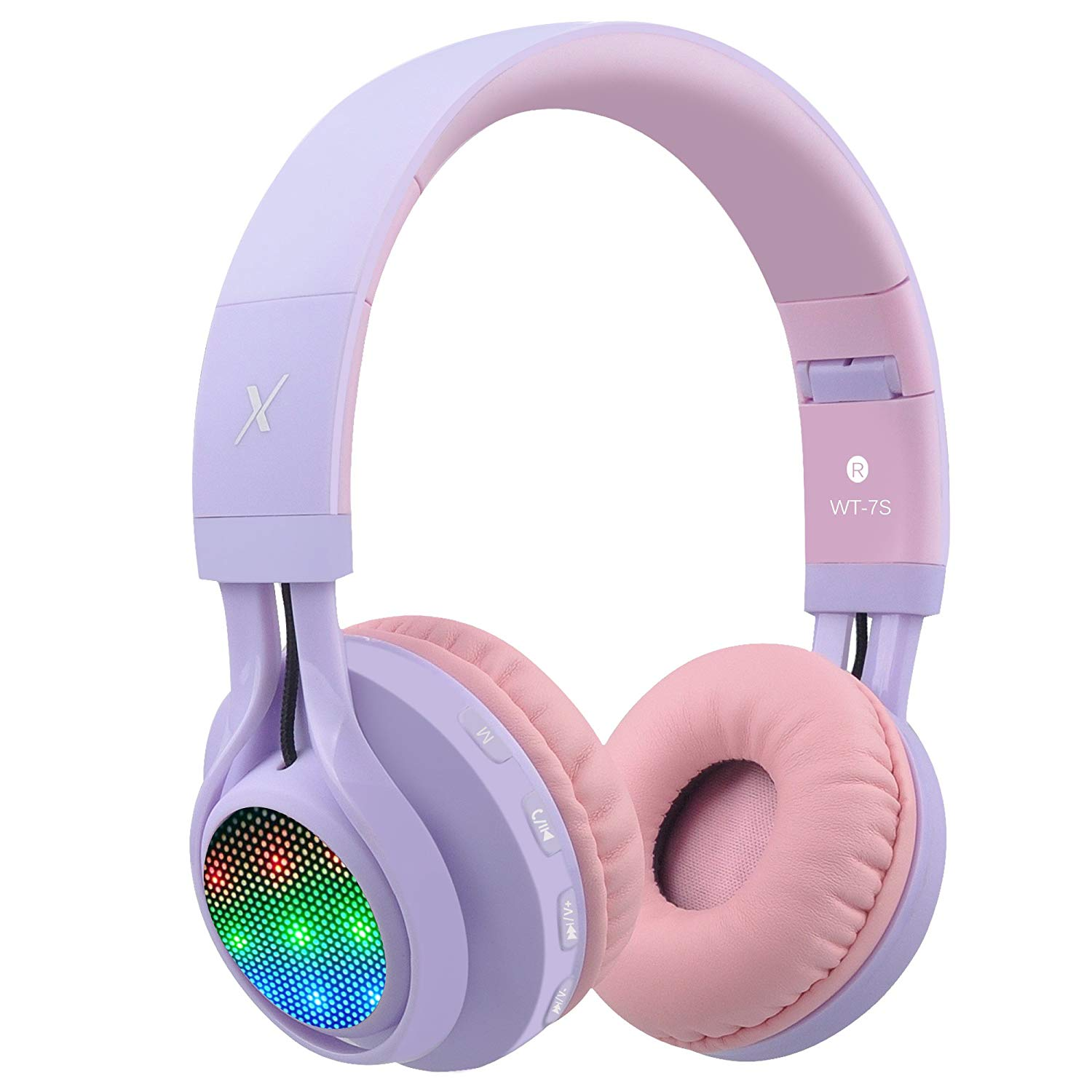 Riwbox WT-7S Bluetooth Headphones, LED Lingt Up Foldable Stereo wireless Headphones
