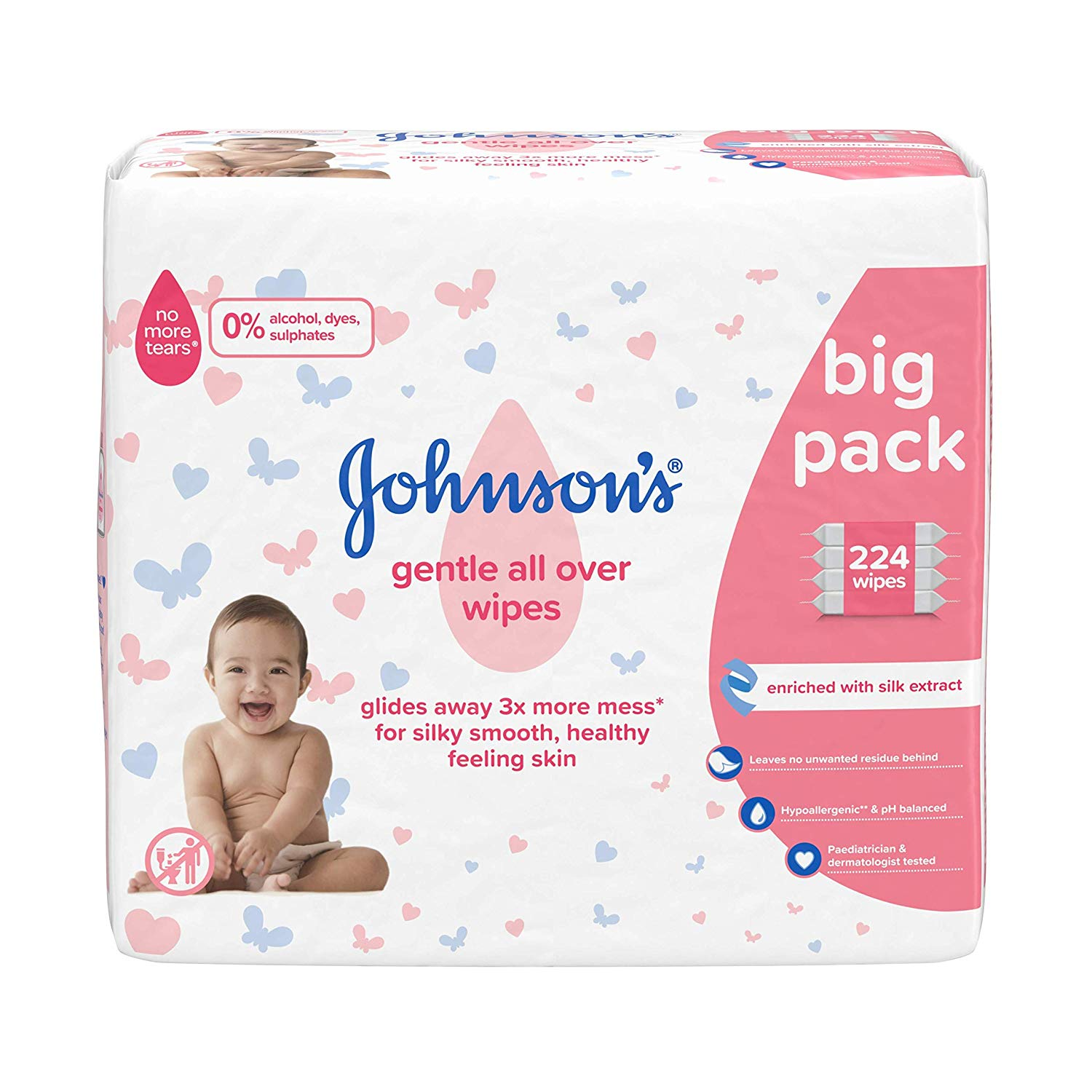 JOHNSON'S Gentle All Over Wipes – 224 ct (56×4) (add on item)