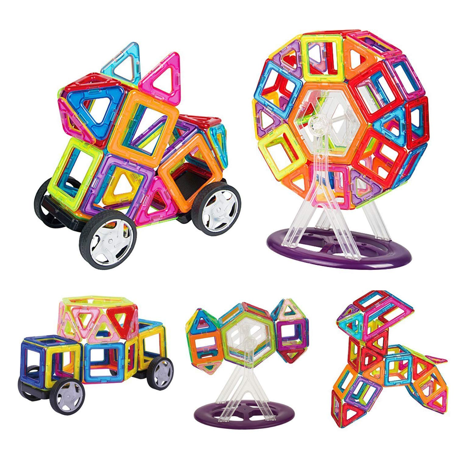 INTEY Magnetic Building Blocks 66 Magnetic Construction Blocks Toddlers Magnetic building blocks