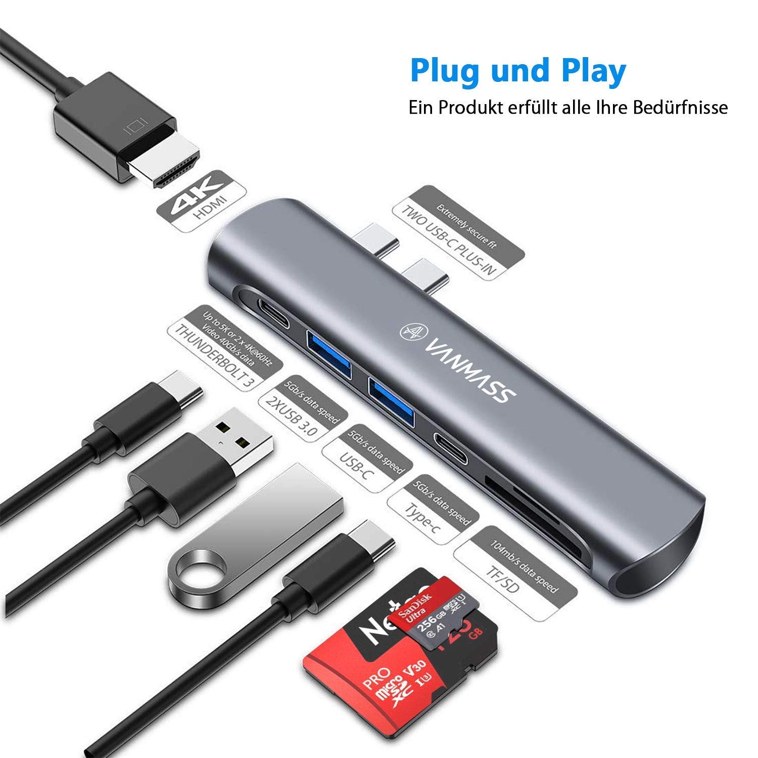 VANMASS USB C Hub 7 in 1, Aluminum Dual Type-C Adaptor