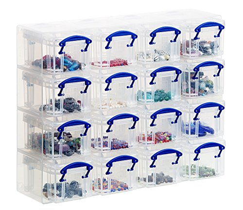16 x 0.14 Litre Storage Boxes in a Clear Plastic Organiser and Clear Boxes