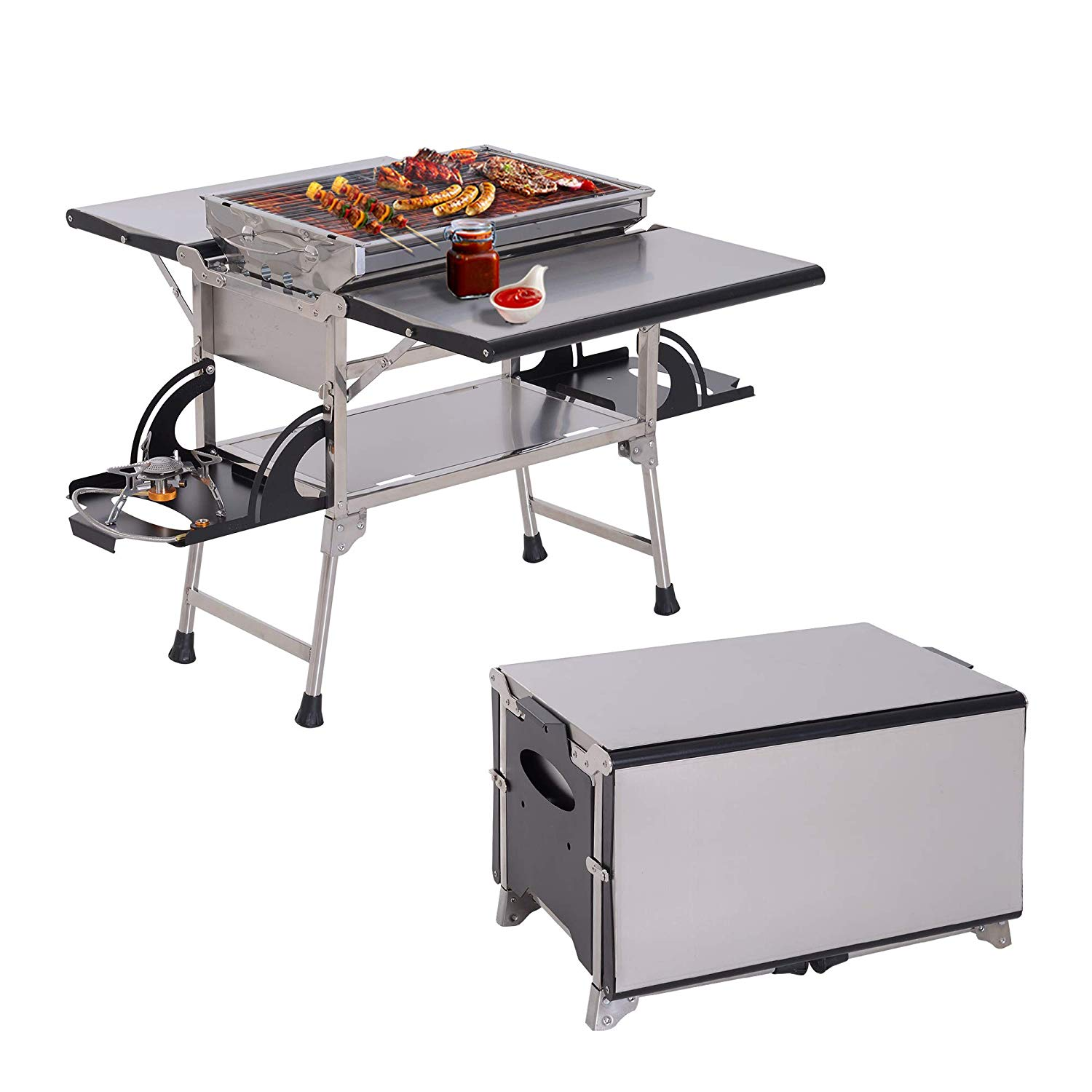 Outsunny 2 in 1 Multi-use Gas Charcoal BBQ Grill Folding Picnic Table Burner Camping Outdoor Garden Kitchen