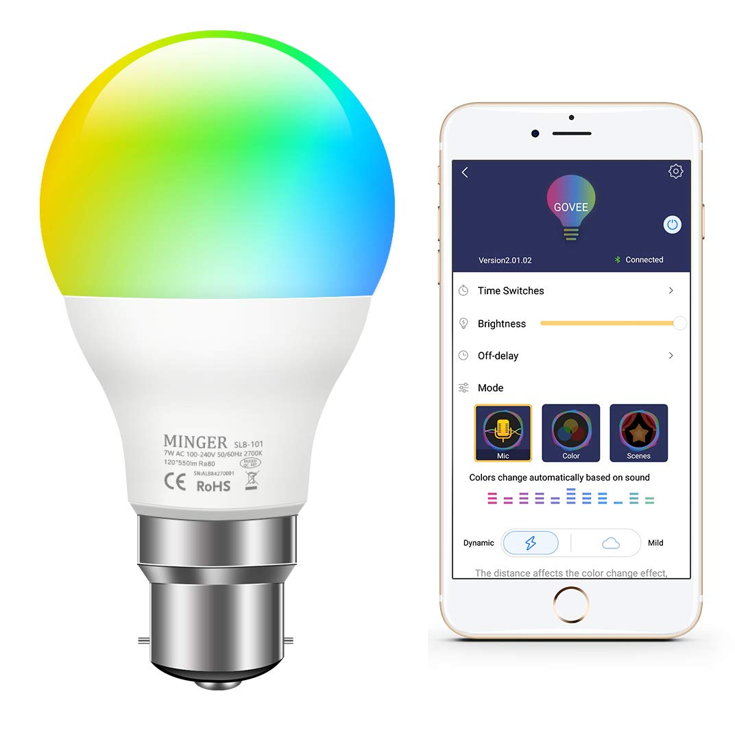 MINGER Colour Changing Light Bulb B22 Dimmable